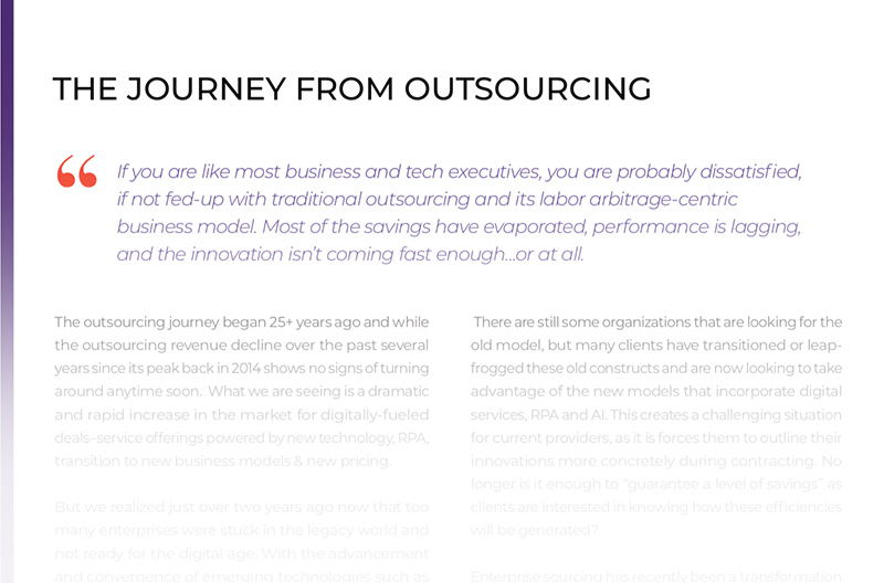 The Journey From Outsourcing